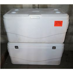 Qty 2 Large White Coleman Coolers w/ Handles & Drain