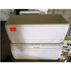 Qty 2 Large White Igloo Coolers w/ Handles & Drain