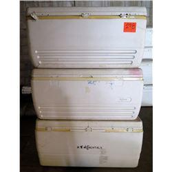 Qty 3 Large White Igloo Coolers w/ Handles & Drain