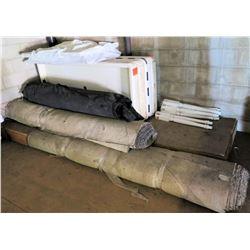 Qty 4 Tables w/ Removable Legs, Carpet Rolls, etc