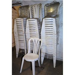 Qty 60 White Plastic Stackable Chairs