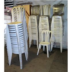 Qty 76 White Plastic Stackable Chairs