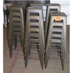 Qty 29 Retro Square Metal Bar-Height Stools w/ Foot Rail