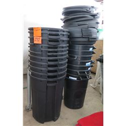 Qty 19 Black Heavy Duty Commercial Waste Receptacles & 24 Lids