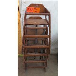 Qty 4 Wooden High Chairs