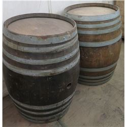 Qty 2 Wood Barrels w/ Metal Banding