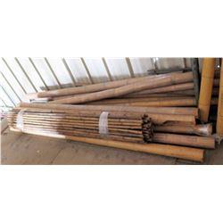 Misc Size Bamboo Poles, Box Metal Light Fixtures, etc