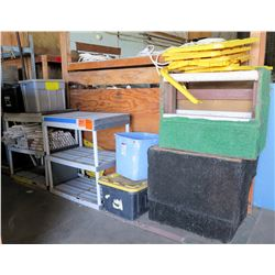 Multiple Shelves & Bins w/ Contents: PVC Pipe, Lights, etc