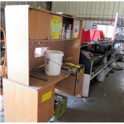 2-Section Wooden Work Desk, Bins Hardware, Spray Enamel Cans, etc