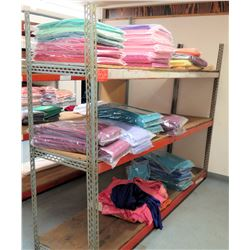 Industrial Shelving Unit and Contents: Cleaned Tablecloths & Runners