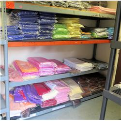 Shelving Unit and Contents: Cleaned Tablecloths & Runners