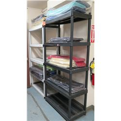 Shelving Unit with Cleaned Tablecloths