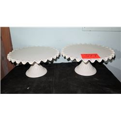 Qty 2 White Ceramic Cake Stands
