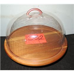 Cake Display Stand with Glass Dome Lid