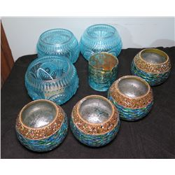 Qty 8 Blue Candle Holders