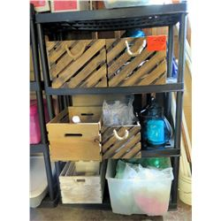 Contents of Shelving: Decorative Storage Bins, Candle Holders, etc