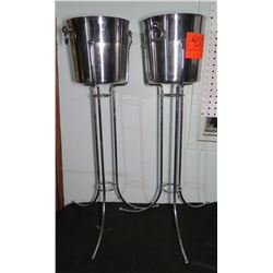 Qty 2 Decorative Champagne Buckets on Stands
