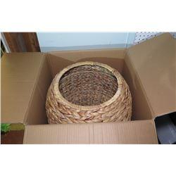 Qty 3 Woven Barrel Storage Tub with Lid