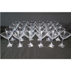 Qty 24 'Florale' Martini Glasses, Made in Czech Republic