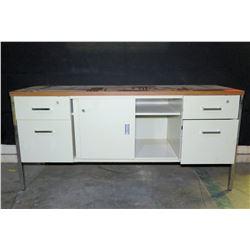 "Metal & White Cabinet w/ Drawers & Sliding Doors 62""x20""x29"" H"