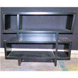 """Black Wood Geometric Shelving Unit w/ 5 Sections 44""""x12""""x35""""H"""