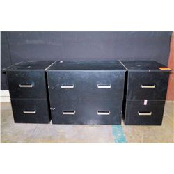 Qty 2 Black 2-Drawer File Cabinets & 1 Lateral File