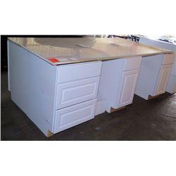 "White Wood Desk w/ Acrylic Top, Side File Drawers & End Shelf 96""x48""x35""H"
