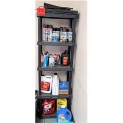 Plastic Shelving Unit & Contents: Spray Enamel, Auto Fluids, Oil, Parts, etc