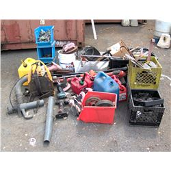 Multiple Gas Cans, Bins of Fittings, Tools, etc