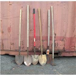 Qty 5 Shovels & 1 Hoe