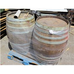 Qty 3 Wooden Barrels w/ Serving Trays & Stands