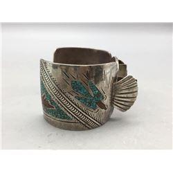 Vintage Navajo inlay watch bracelet