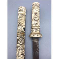 Antique Japanese Tonto Ivory Sheath and Handle