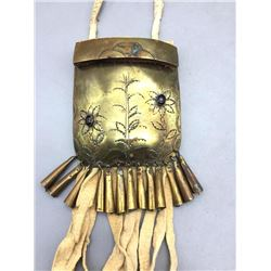Antique Medicine Pouch with Engraved Brass Plate