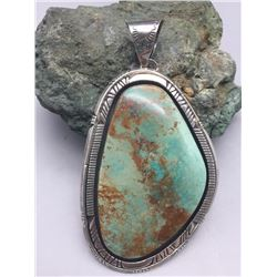 Large Green Stone Turquoise Pendant- Gilbert Tom