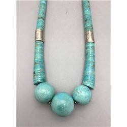 Nice Looking Turquoise and Sterling Silver Necklace