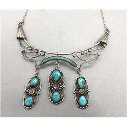Unique Turquoise and Sterling Silver Necklace