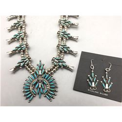 Zuni Needlepoint Turquoise Squash Blossom Necklace Set
