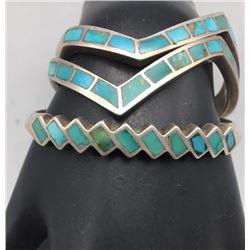 Three Vintage Inlay Bracelets