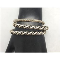 Three Vintage Sterling Silver Bracelet