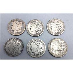 Six Morgan Silver Dollars
