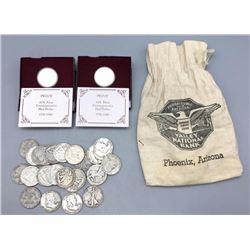 Approx. 28 Silver Half Dollars and Vintage Bank Bag