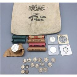Group of Miscellaneous Coins and Vintage Bank Bag