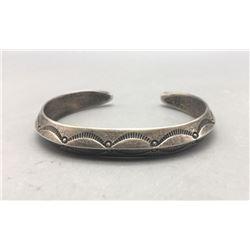 Triangular Hand Stamped Coin Silver Bracelet