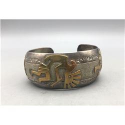 Kokopelli Themed Sterling Silver and Gold Bracelet