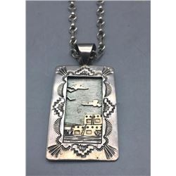 Sterling Silver and 14k Gold Pueblo Scene Necklace