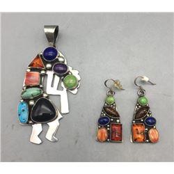 Multi-Stone Pendant and Earrings