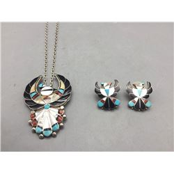 Zuni Inlay Necklace and Earring Set