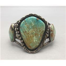 Large Three Stone Turquoise Bracelet