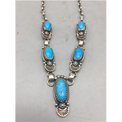 Turquoise and Sterling Silver Necklace by Roie Jacque